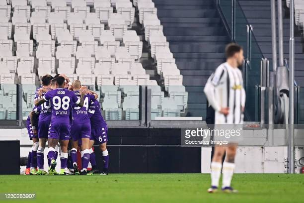 Dusan Vlahovic of Fiorentina celebrates 0-1 with Igor of Fiorentina, Sofyan Amrabat of Fiorentina during the Italian Serie A match between Juventus v...
