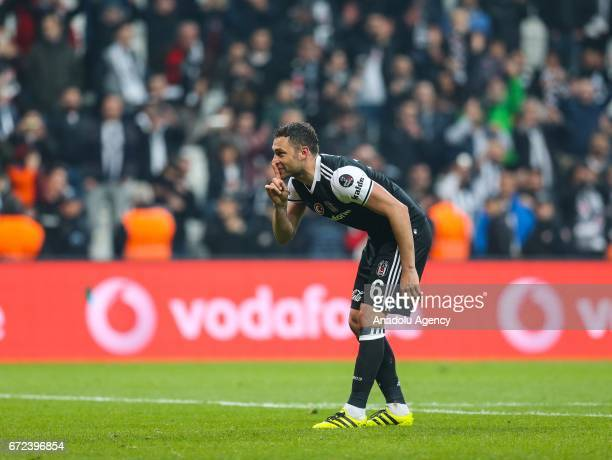 Dusco Tosic of Besiktas greets fans after their victory at the end of the Turkish Spor Toto Super Lig football match between Besiktas and Adanaspor...
