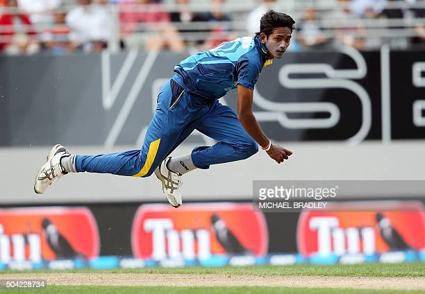 TOPSHOT Dushmantha Chameera of Sri Lanka bowls during the second T20 cricket match between New Zealand and Sri Lanka at Eden Park in Auckland on...