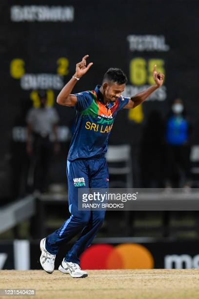Dushmantha Chameera of Sri Lanka celebrates the dismissal of Dwayne Bravo of West Indies during the 2nd T20i match between Sri Lanka and West Indies...