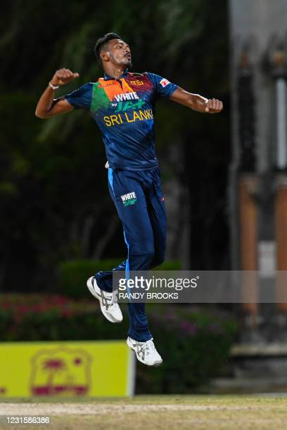 Dushmantha Chameera of Sri Lanka celebrates the dismissal of Kieron Pollard of West Indies during the 3rd and final T20i match between Sri Lanka and...