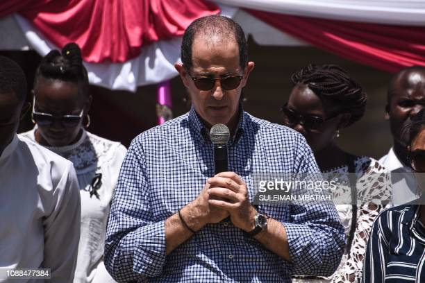 Dusit hotel complex General Manager Michael Metaxas speaks during the burial ceremony of Trufosa Nyaboke who was among those killed during a terror...