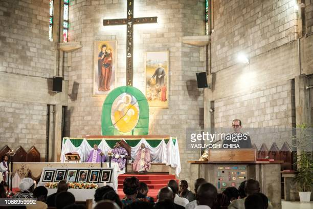 Dusit hotel General Manager Michael Metaxas delivers a speech during the memorial service at the Consolata Shrine in Nairobi Kenya on January 23 2019...