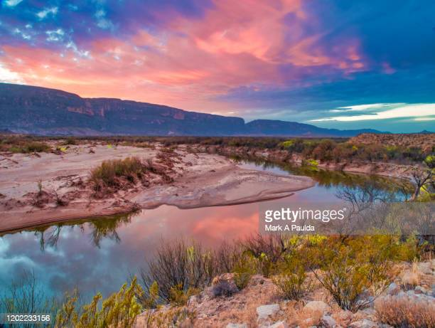 dusk at big bend in west texas - big bend national park stock pictures, royalty-free photos & images