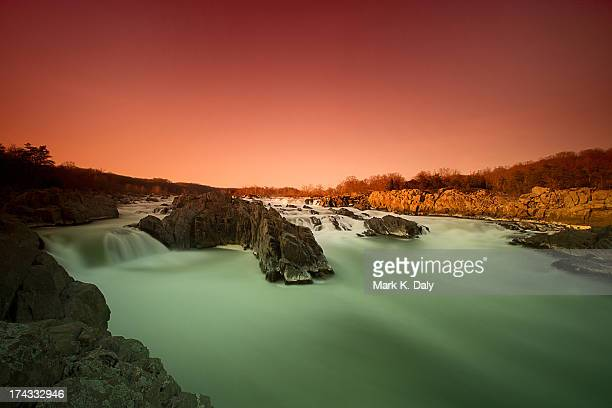 dusk at great falls, virginia - fairfax county virginia stock photos and pictures