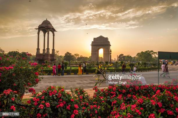dusk at india gate with flowers in foreground - india gate stock pictures, royalty-free photos & images