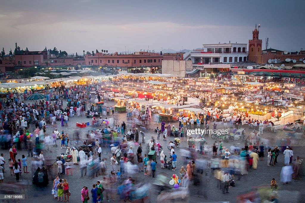 Dusk at Jamaa el Fna : Stock Photo