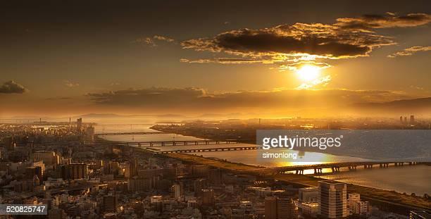 dusk at osaka, japan - 大阪ビジネスパーク ストックフォトと画像
