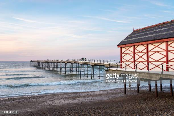 dusk at saltburn-by-the-sea, north yorkshire, england - saltburn stock photos and pictures