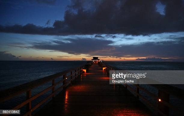 Dusk at the scenic pier, Naples City Pier, Naples, Florida, USA