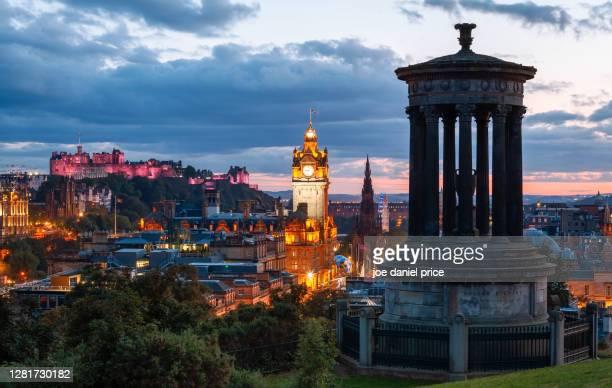 dusk, dugald stewart monument, calton hill, edinburgh, scotland - international landmark stock pictures, royalty-free photos & images