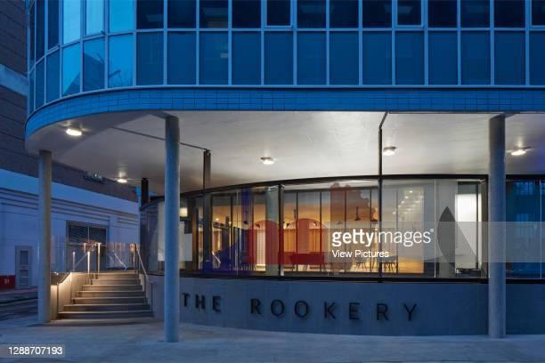 Dusk elevation. Congress House, London, United Kingdom. Architect: Hugh Broughton Architects, 2018.