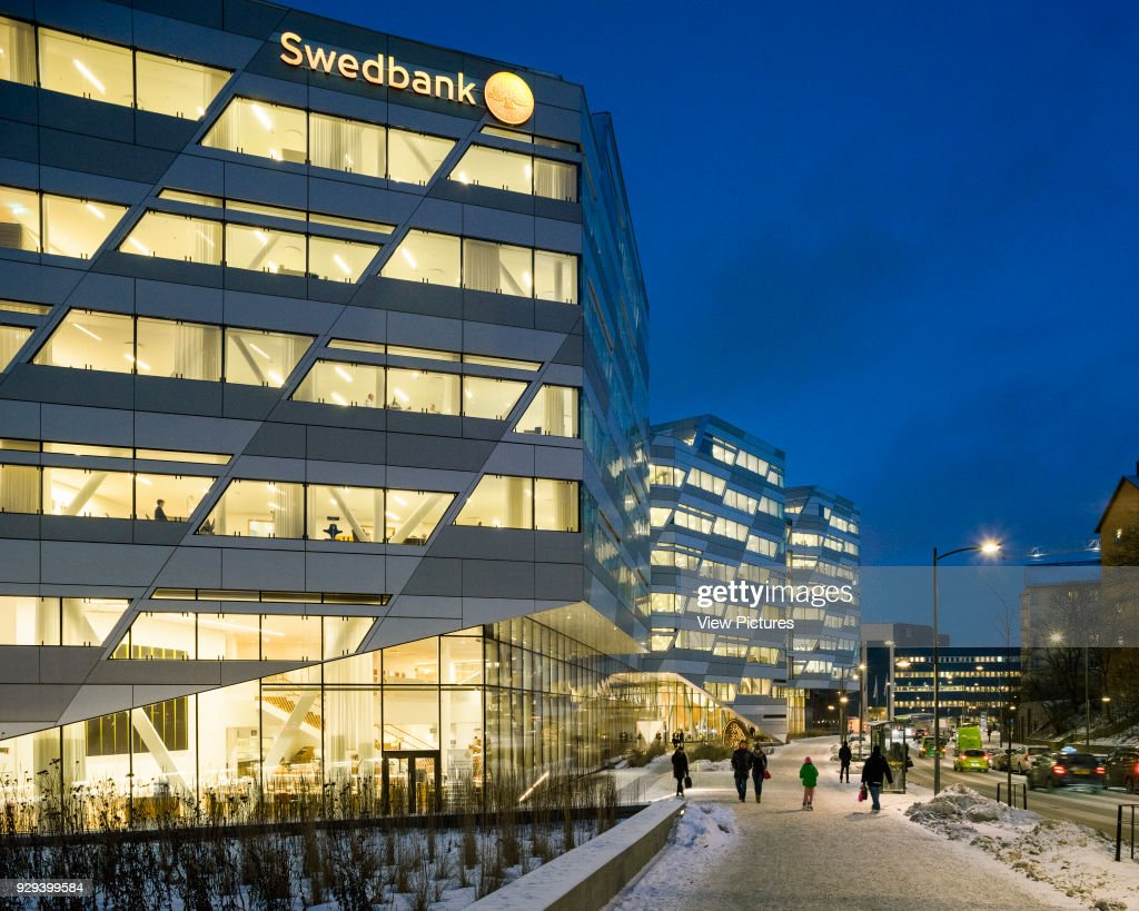 stockholm office. Dusk Elevation With Landscaped Exterior Walkways. Swedbank Head Office Stockholm, Sweden. Stockholm A