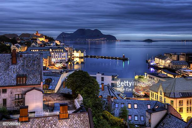 Dusk in the old town of Alesund in Norway.