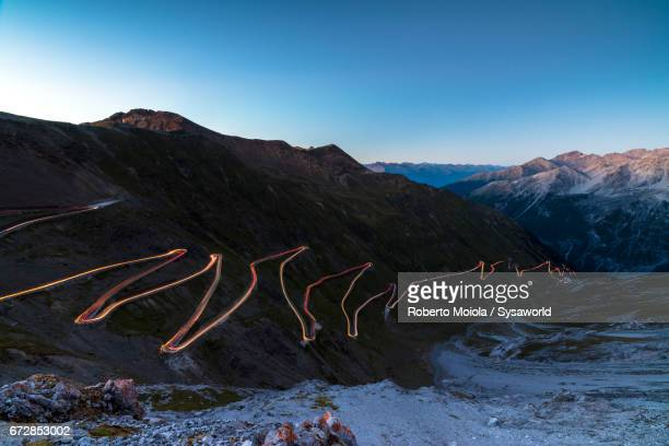 Dusk lights on Stelvio Pass Valtellina Lombardy Italy