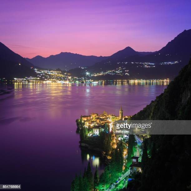 Dusk looking over Varenna on Lake Como, Italy
