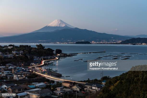 A dusk of Numazu city and Fujisan