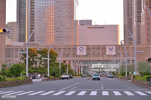 dusk of shinjuku tokyo - 新宿区 ストックフォトと画像