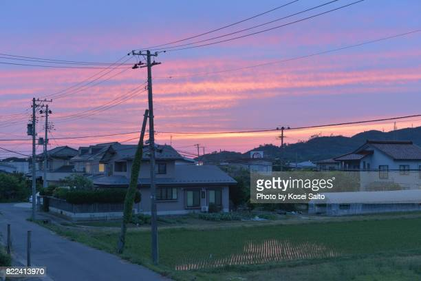 dusk of suburb of akita japan - 東北地方 ストックフォトと画像
