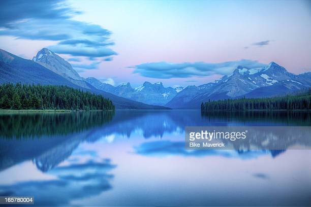 Dusk on Maligne lake