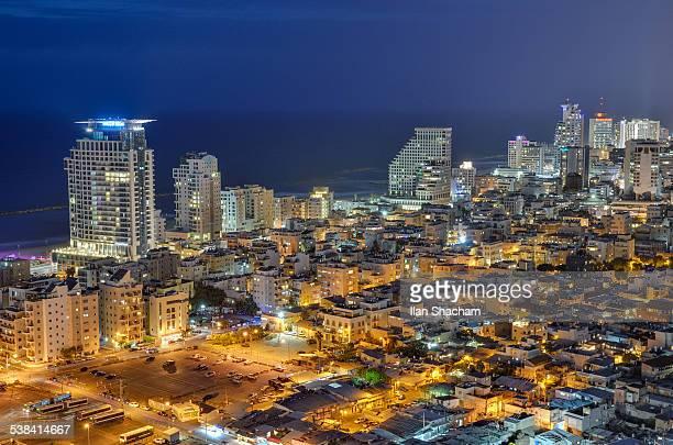 Dusk on Tel Aviv beach skyline