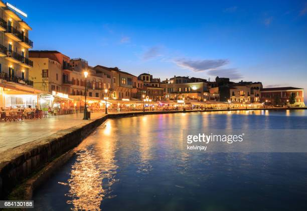 Dusk on the old Venetian harbour in Chania, Crete