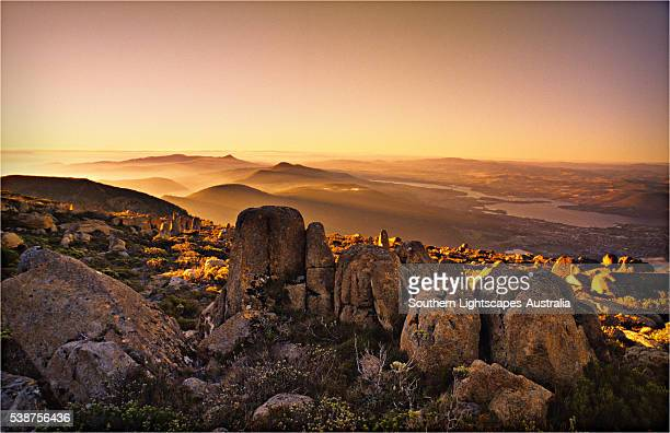 Dusk on the summit of mount Wellington, Hobart, Tasmania, Australia.