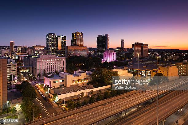 dusk over birmingham - birmingham alabama stock pictures, royalty-free photos & images
