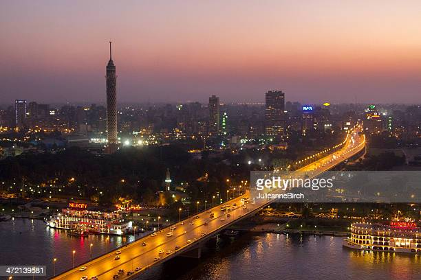 dusk over city of cairo, egypt - cairo stock pictures, royalty-free photos & images