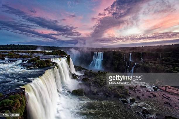 Dusk over Floriano Falls at Iguazu Falls in Brazil