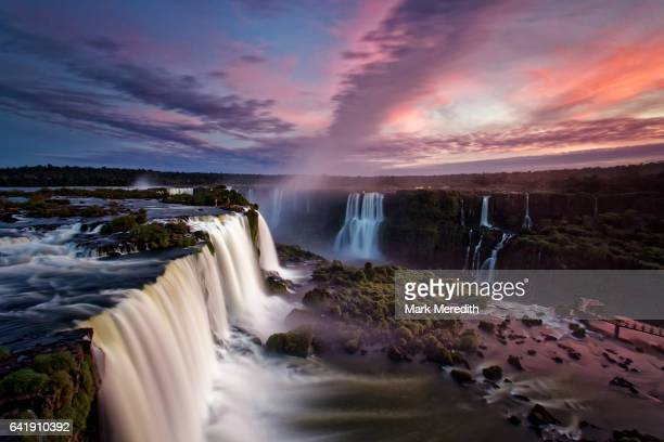 Dusk over Iguacu Falls in Brazil