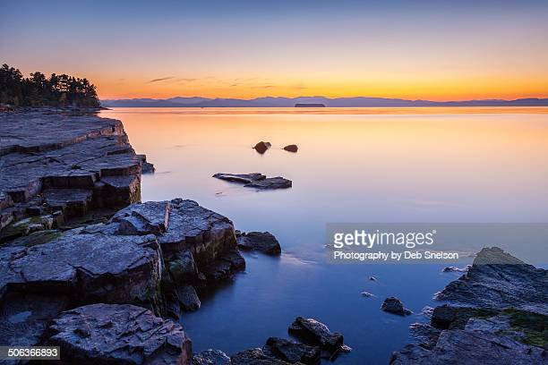 dusk over lake champlain - burlington vermont stock photos and pictures