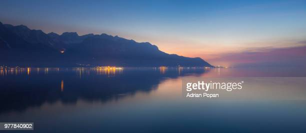 dusk over lake, geneva, switzerland - soft focus stock pictures, royalty-free photos & images