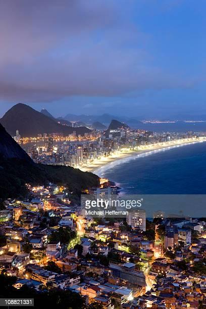 Dusk over Vidigal and Rio Beaches