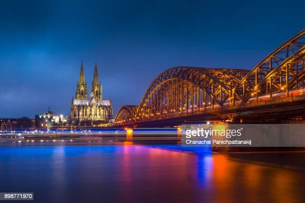 Dusk scene of Cologne city along Rhine River, Germany