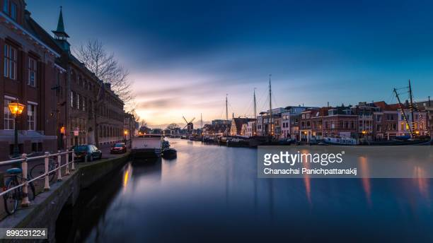 Dusk scene of over Leiden city in Netherlands