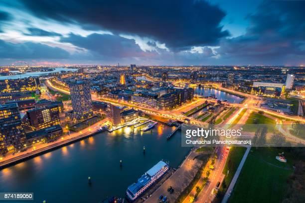dusk scene over rotterdam city, netherlands - 南ホラント州 ストックフォトと画像