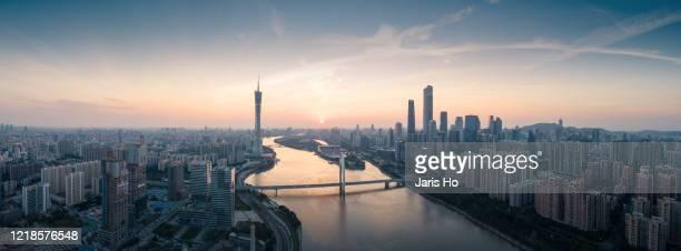 dusk scenery of cbd in guangzhou, south china. - guangzhou stock-fotos und bilder