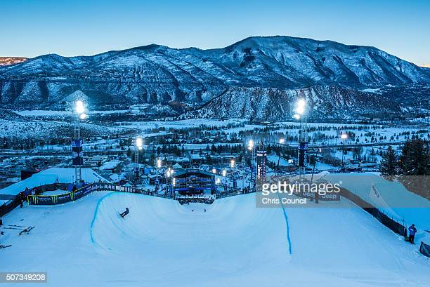 Dusk settles over the superpipe at the Winter X Games 2016 Aspen at Buttermilk Mountain on January 28 in Aspen Colorado