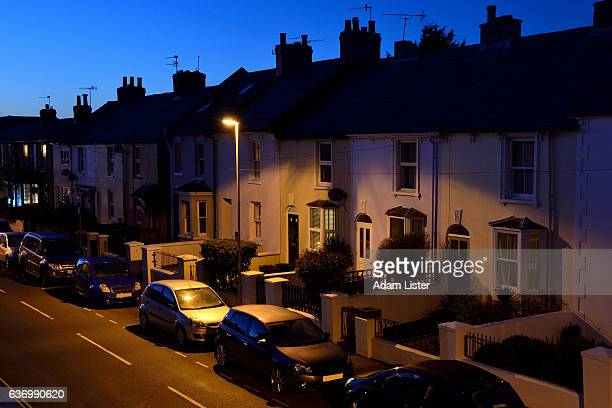 dusk street - night stock pictures, royalty-free photos & images