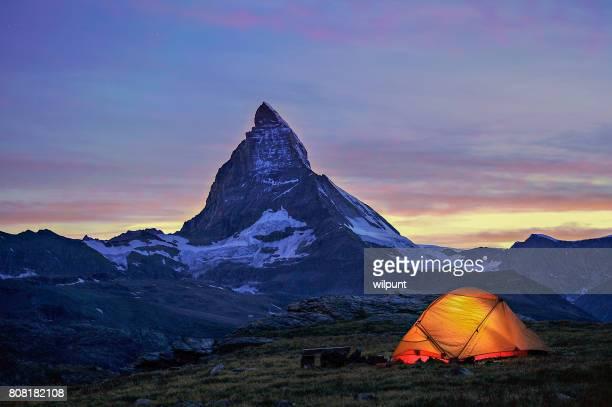 Dusk Tent Matterhorn Scene