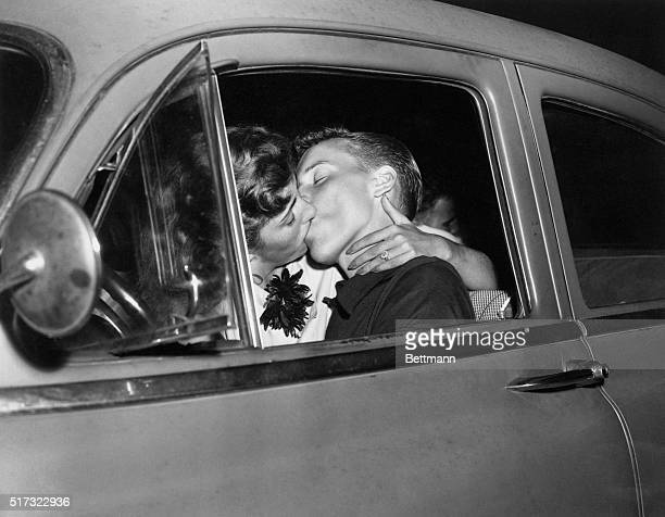 1954 Dusk until dawn Prom Party Estelle and Brandon kissing in car