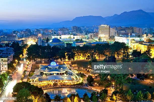 A dusk view across the city of Tirana