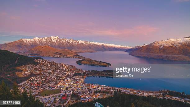 Dusk View of Queenstown with The Remarkables