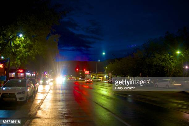 Dusk view of reflections on Main Street in Moab, Utah
