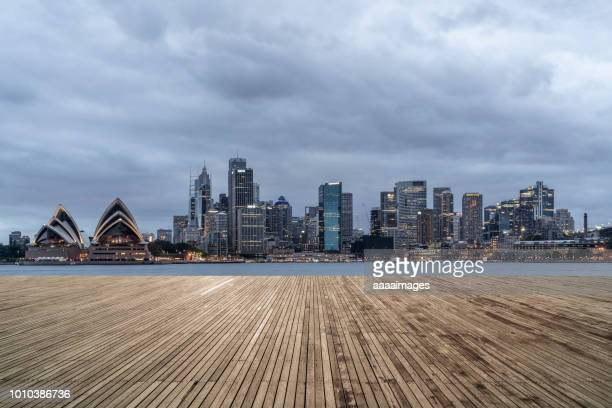 dusk view of sydney downtown skyline,australia - financial district stock pictures, royalty-free photos & images