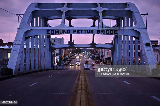 A dusk view of the Edmund Pettus Bridge where route 80 crosses the Alabama River on March 5 2015 in Selma Alabama Saturday will mark the 50th...