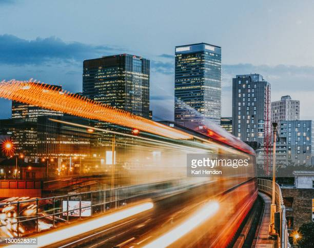 a dusk view of the london skyline - skyline stock pictures, royalty-free photos & images