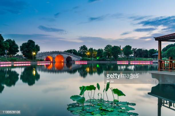 dusk view on west lake scenery - west lake hangzhou stock pictures, royalty-free photos & images