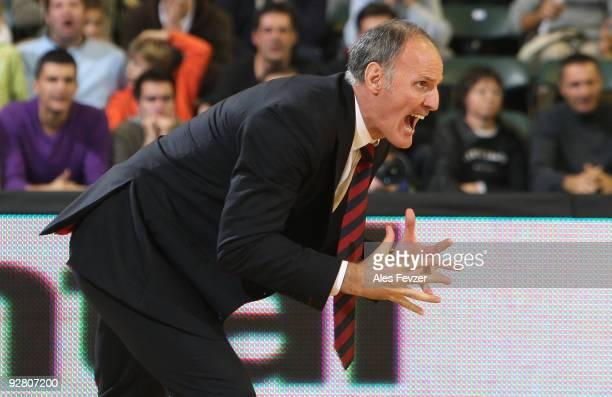 Dusko Ivanovic head coach of Caja Laboral gestures during the Euroleague Basketball Regular Season 20092010 Game Day 3 between Union Olimpija...